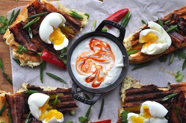 Skillet Waffles & Eggs