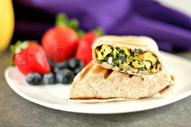 Spinach Egg and Feta Wrap