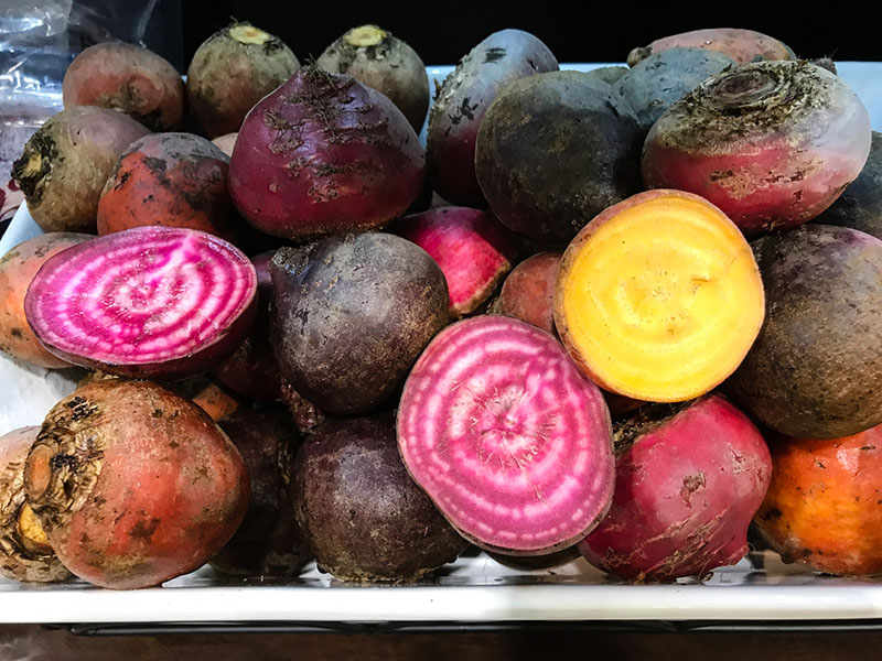 an assortment of beet varieties
