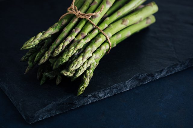 bunch of tied together asparagus