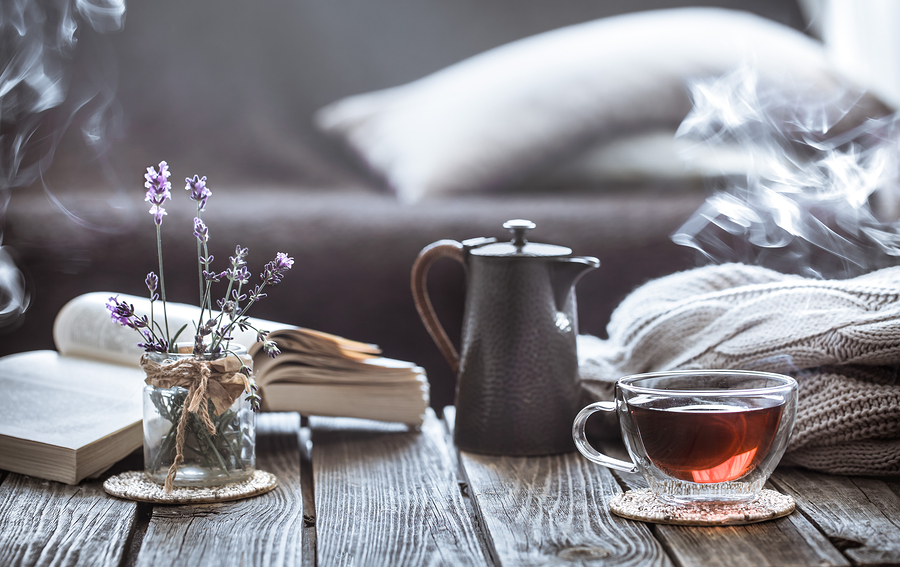 Tea and books on a table