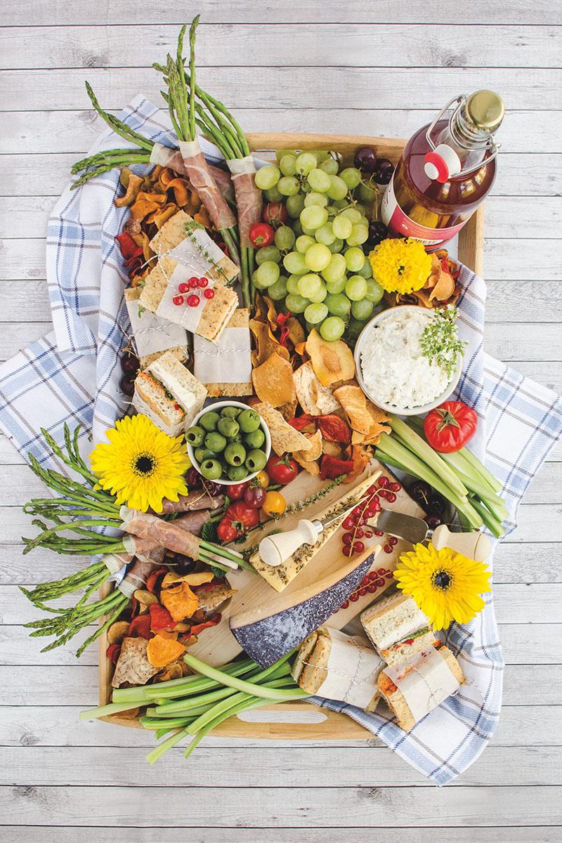 A big picnic charcuterie board