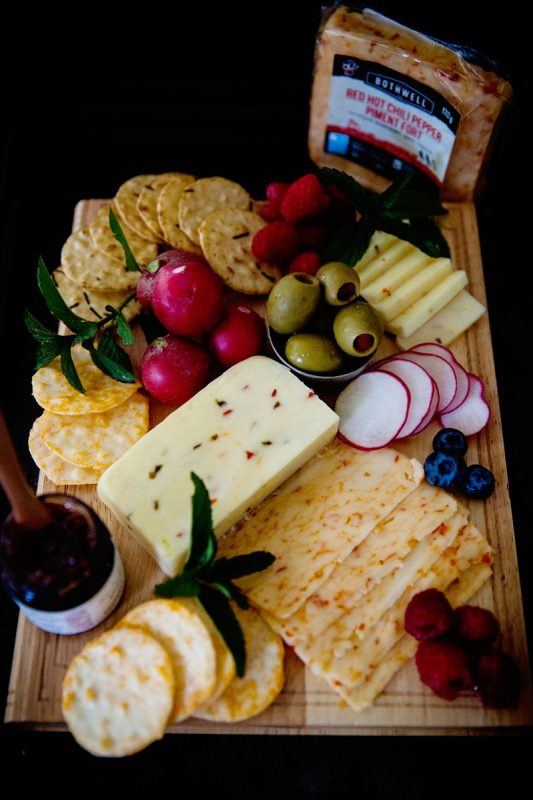 Summer Cheese Plate with Crackers and Veggies