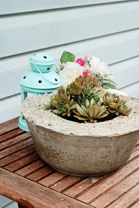 a finished hypertufa pot