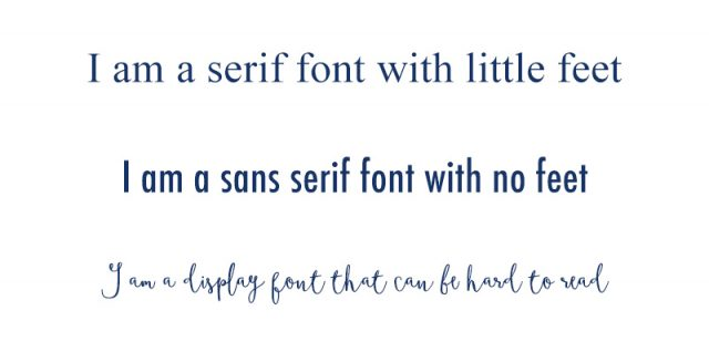 Examples of serif, sans serif and display fonts for pinterest graphics