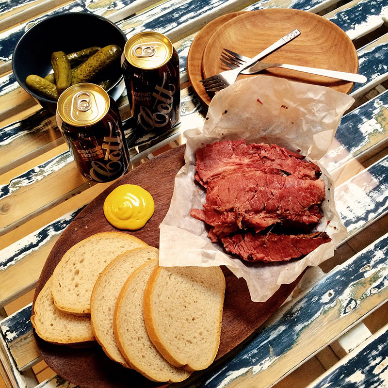 the fixings for a Montreal Smoked Meat Sandwich