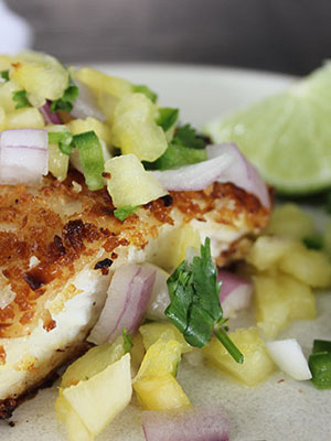 Coconut Crustred Halibut with Spicy Pinapple Salsa