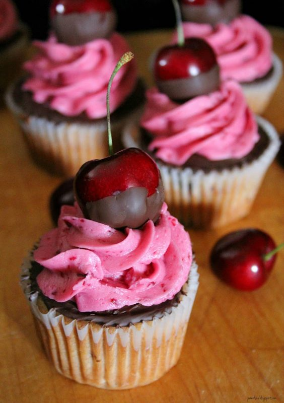Chocolate Dipped Cherry Cupcakes by Jo and Sue