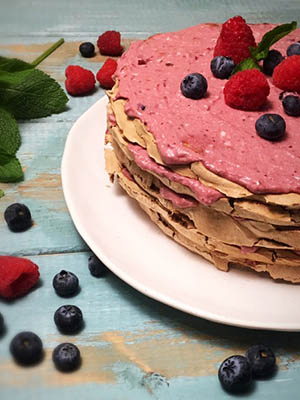 Chocolate Meringue Layer Cake with Raspberries