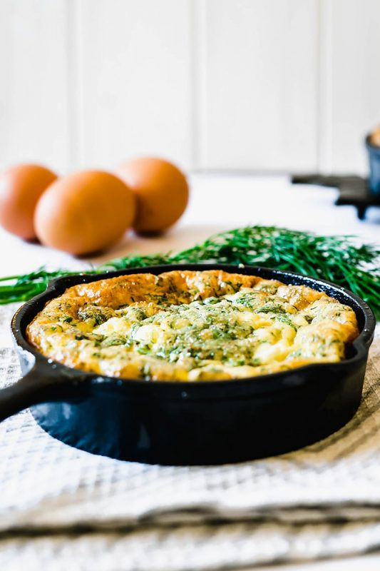 Baked Feta, Dill and Spinach Frittata | Delicious Spoon