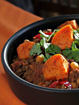 Bison and Sweet Potato Chili With Harissa and Sumac | Dish n the Kitchen