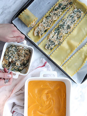 Spinach Goat Cheese Roll-Ups With Creamy Butternut Squash | Bon Appeteat