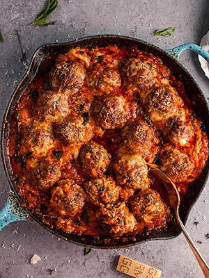 Cheesy Baked Meatball Skillet | Salt & Lavender