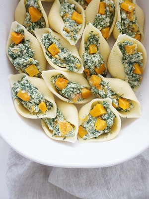 Stuffed Pasta Shells With Butternut Squash, Ricotta and Spinach | Pina Bresciani