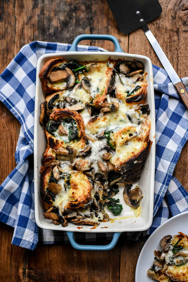Savoury Croissant Casserole with Mushrooms, Spinach and Cheese | Pardon Your French