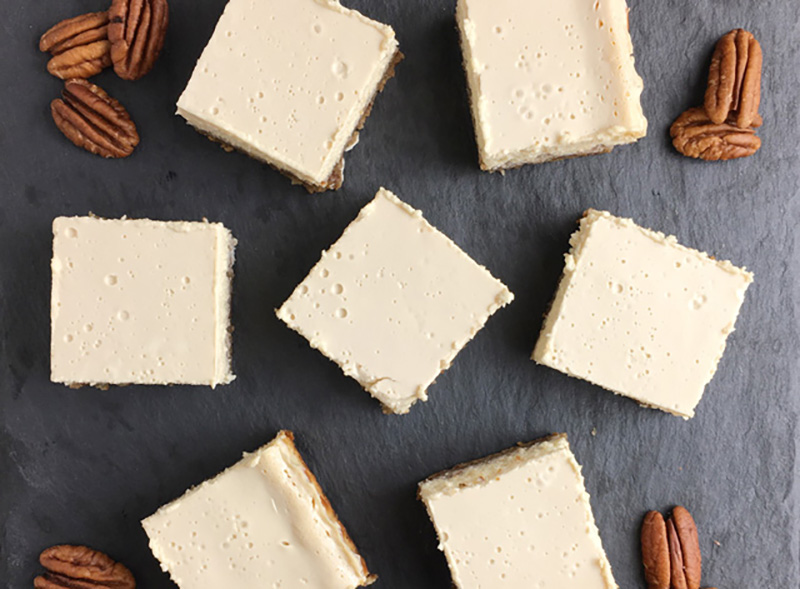 Creamy Cheesecake Squares With Nut Crust | A Day In The Kitchen