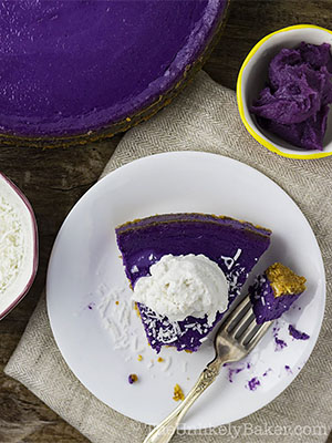 Ube Cheescake with Cookie Crust | The Unlikely Baker