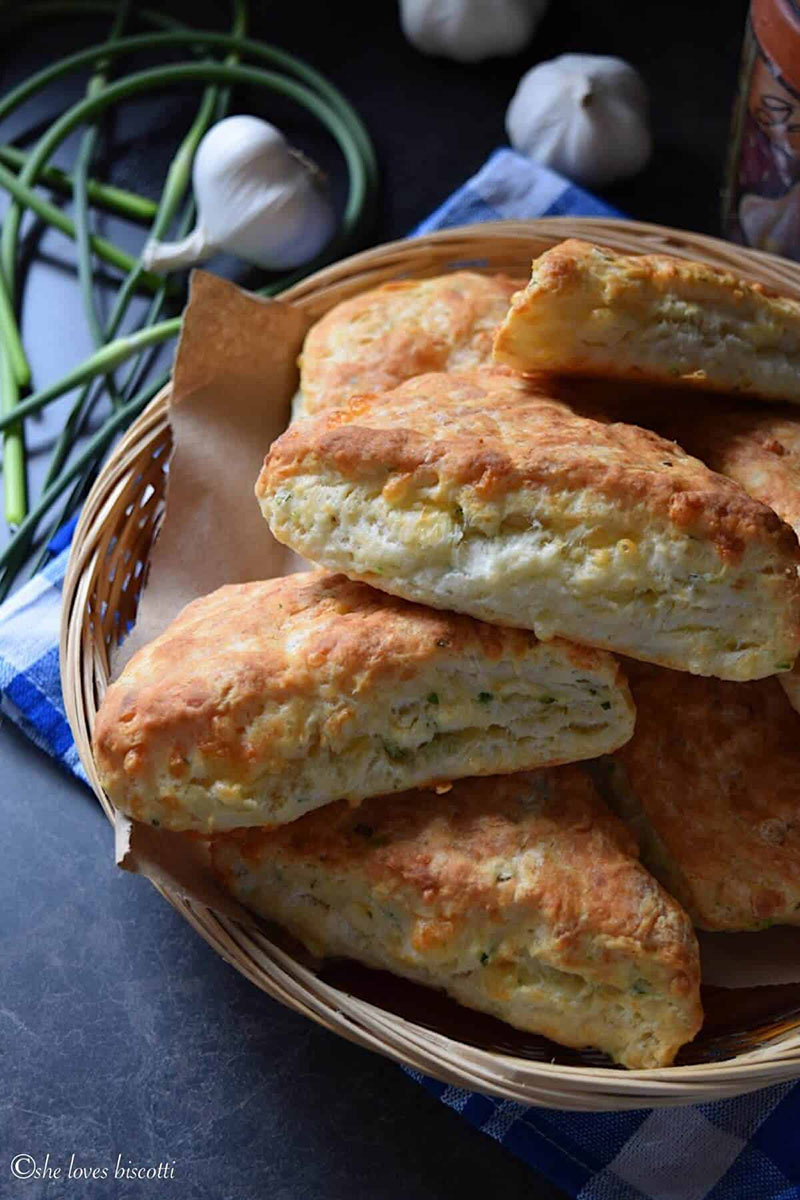 Garlic Scape Buttermilk Cheese Biscuits | She Loves Biscotti