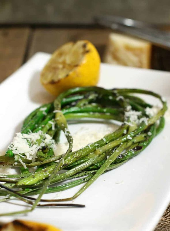 Grilled Garlic Scapes with Lemon and Parmesan