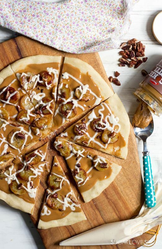 Cookie Notti Dessert Pizza with Caramelized Bananas | SugarLoveSpices