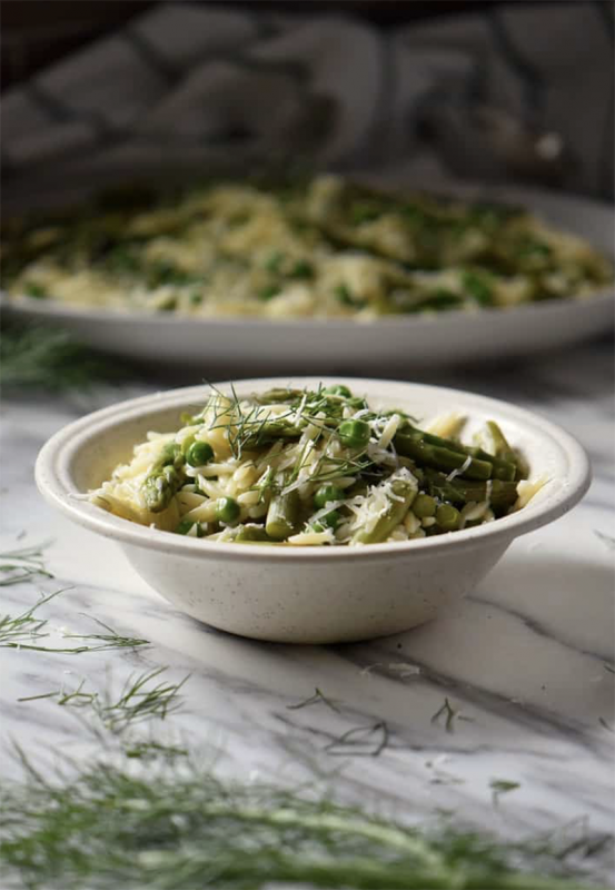 Orzo Risotto with Peas and Asparagus | She Loves Biscotti