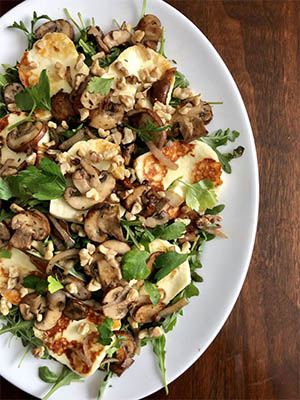 Warm Mushroom and Seared Halloumi Salad | How To Eat