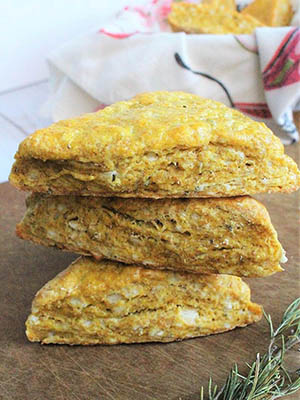 Rosemary White Cheddar Pumpkin Scones | Evergreen Eats