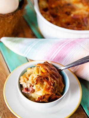 Ham and Cheddar Bread Pudding | Food Bloggers of Canada