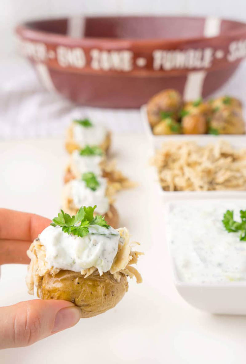 Stuffed Chicken Gyros Touchdown Taters | Haute & Healthy