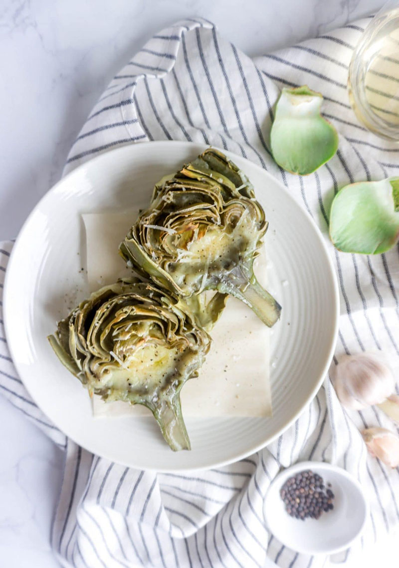Fontina Parmesan and Garlic Roasted Artichokes | Pina Bresciani