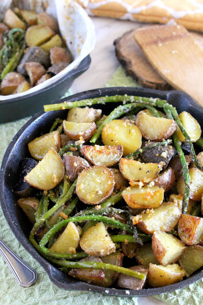 Parmesan Crusted Potatoes with Asparagus | Marisa's Italian Kitchen