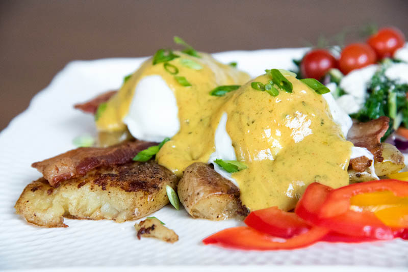 Smashed Potato Bacon Benny with Creamy Fenugreek Sauce | Primal Desire