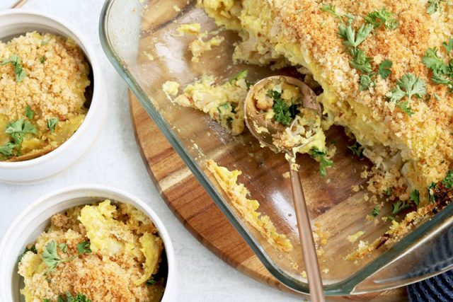 Vegan Cauliflower Gratin With Cultured Cash Cheese | Naught Nutrition