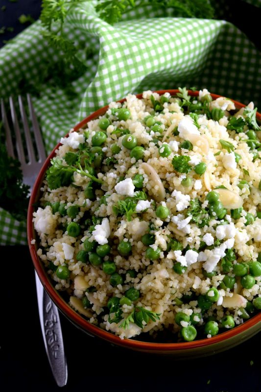 Couscous and Green Pea Salad with Almonds and Feta