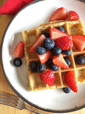 Zucchini Waffles with Fresh Berries | Half Your Plate