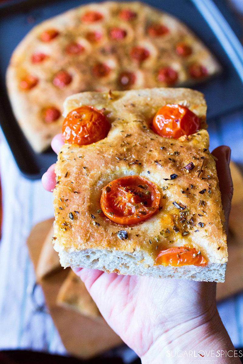 Focaccia with Cherry Tomatoes and Oregano   SugarLoveSpices