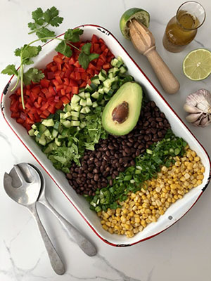 Corn, Black Bean & Avocado Salad | The Kitchen Fairy