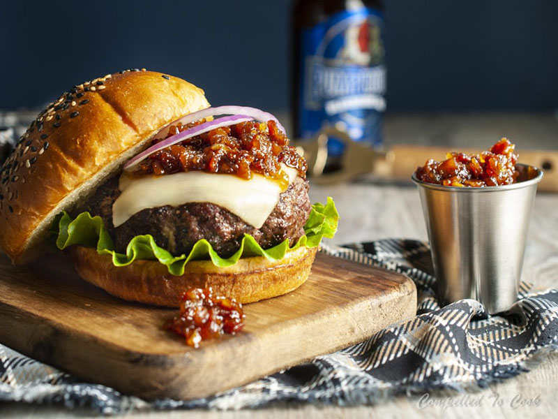 Bacon Jam Mozza Burger by Compelled to Cook