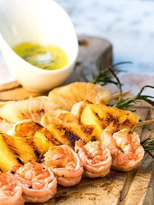Shrimp on Rosemary Skewers with Rum Soaked Pineapple | In the Kitch