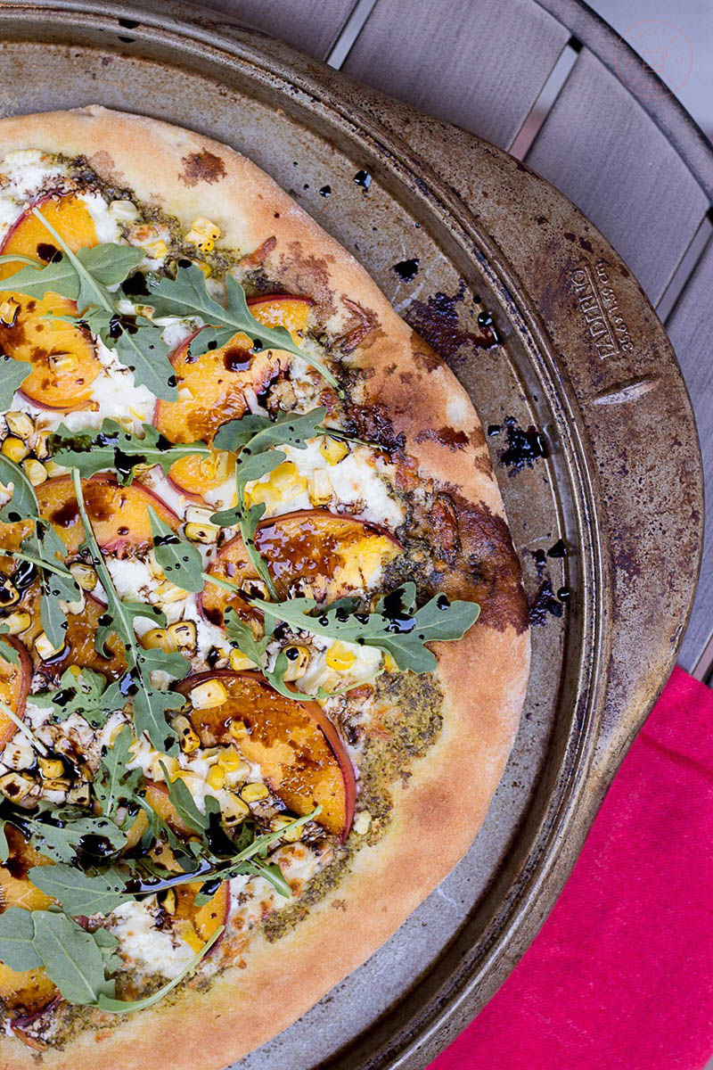 Balsamic Peach and Pesto Pizza by Taste And Tipple