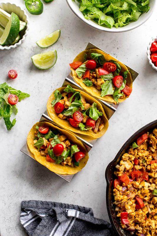 Spicy Tofu Scramble Breakfast Tacos | Crumb Top Baking