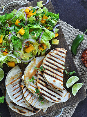 Steak and Scallion Quesadillas With Mango Avocado Salad | Food Bloggers of Canada