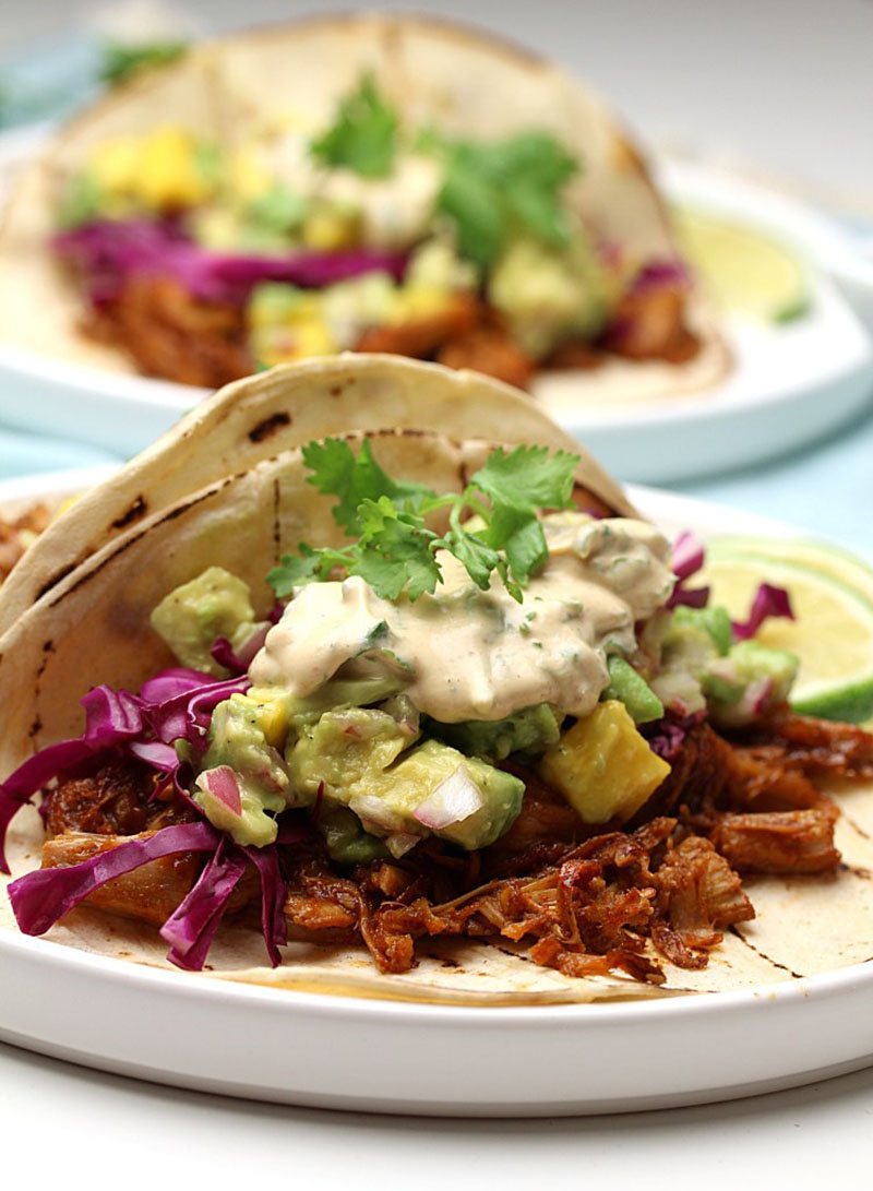 BBQ Jackfruit Tacos With Mango Avocado Salsa | The Vegan Harvest