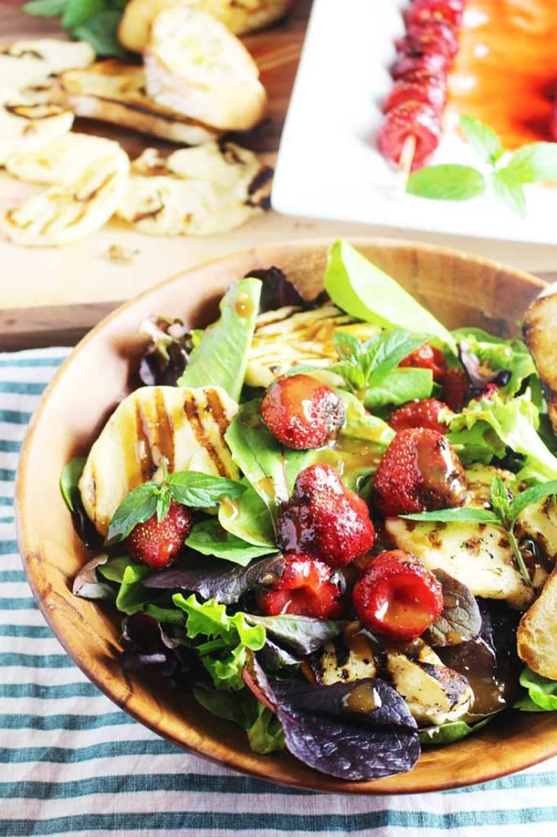 Grilled Strawberry and Halloumi Salad | Our Happy Mess