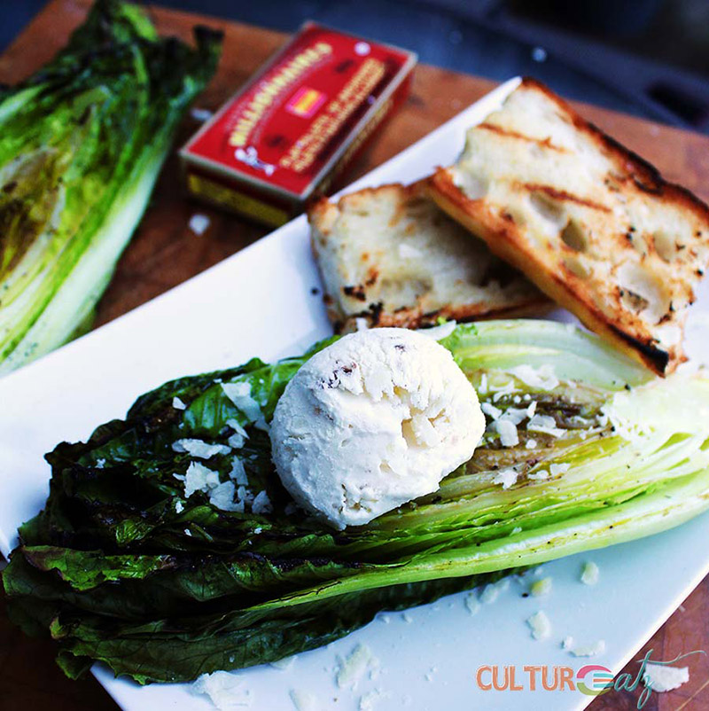 Anchovy Ice Cream on Grilled Caesar Salad | CulturEatz