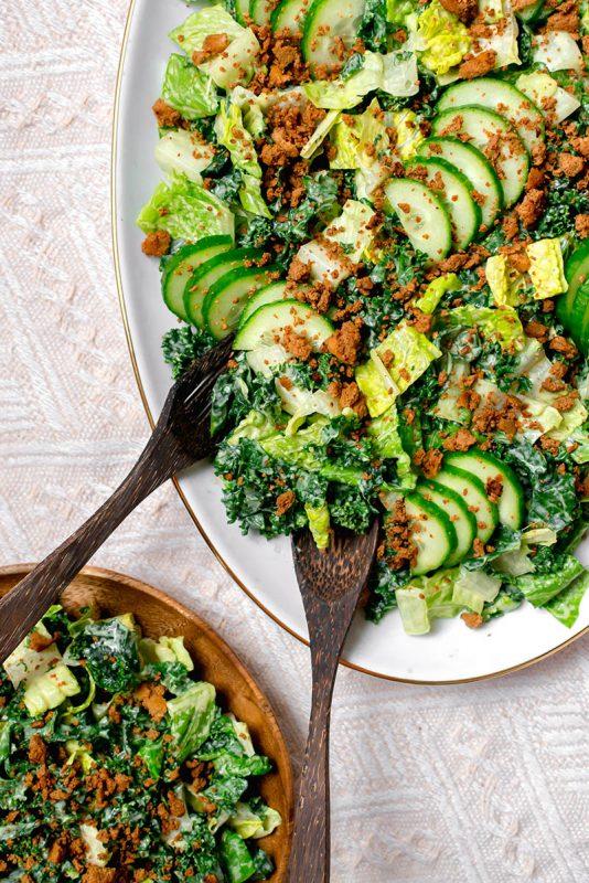 Vegan Caesar Salad with Tofu Bacon | Radiant Rachels