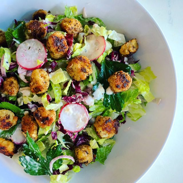 Spicy Caesar Salad with Chicken Croutons   Everyday on Occasion