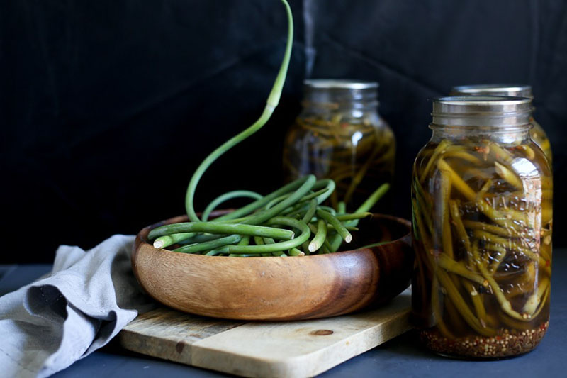 Mustard Garlic Scape Pickles | At the Immigrant's Table