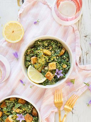 Vegan Kale Caesar Salad with GF Croutons | Justine Celina