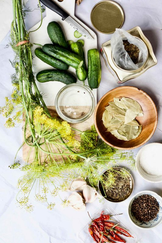 Fermented Pickles with Green Tea and Dill Flowers | Yang's Nourishing Kitchen